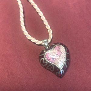 Alan K Sterling Silver Pink Heart Pendant